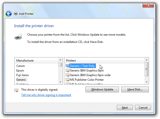 Use the windows print system to drive a non usb cutter for Porte usb non funzionano windows 7